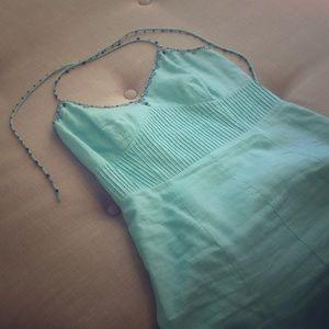 Linen beaded casual summer dress